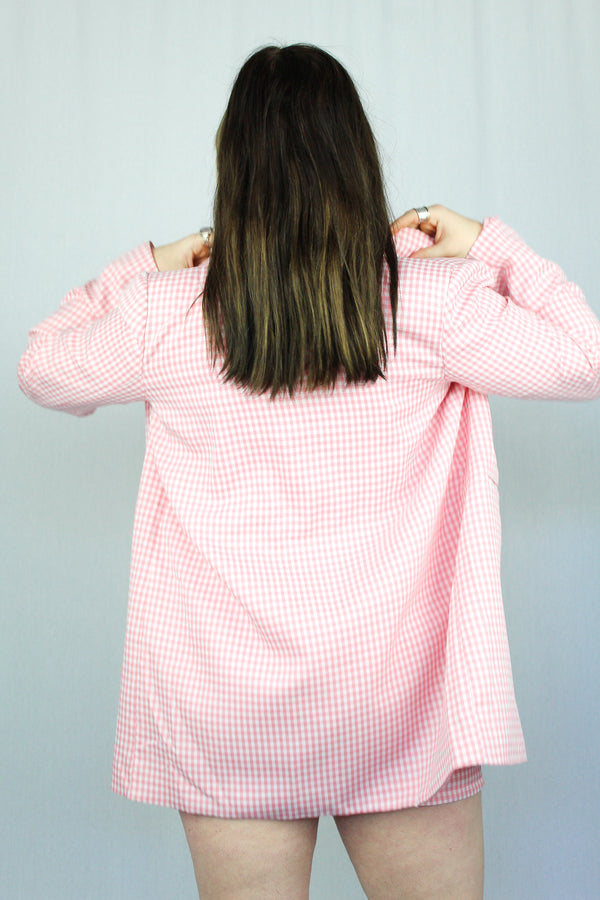 Pink gingham suit set