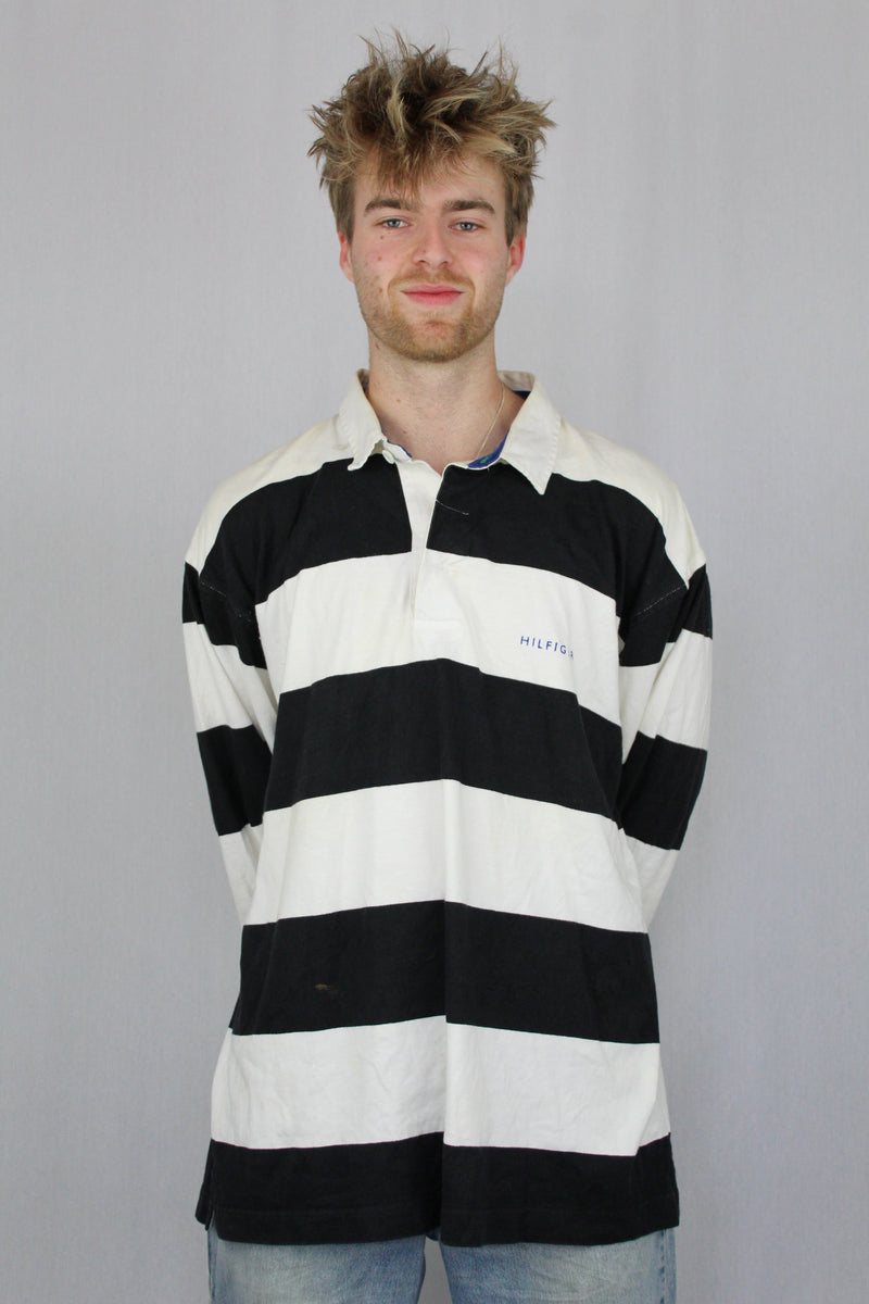 Striped rugby polo