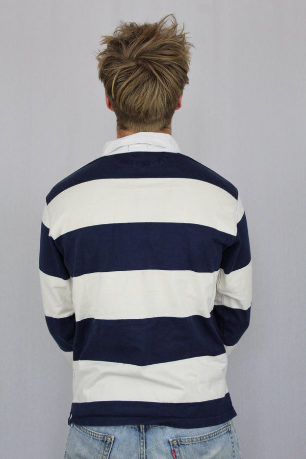 Navy white striped rugby polo