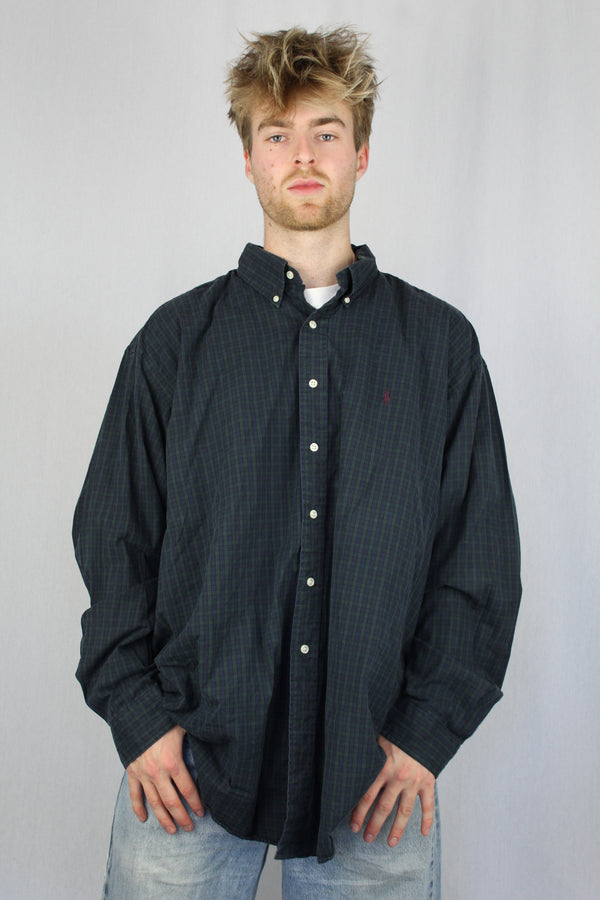 Green/ nayy check flannel shirt