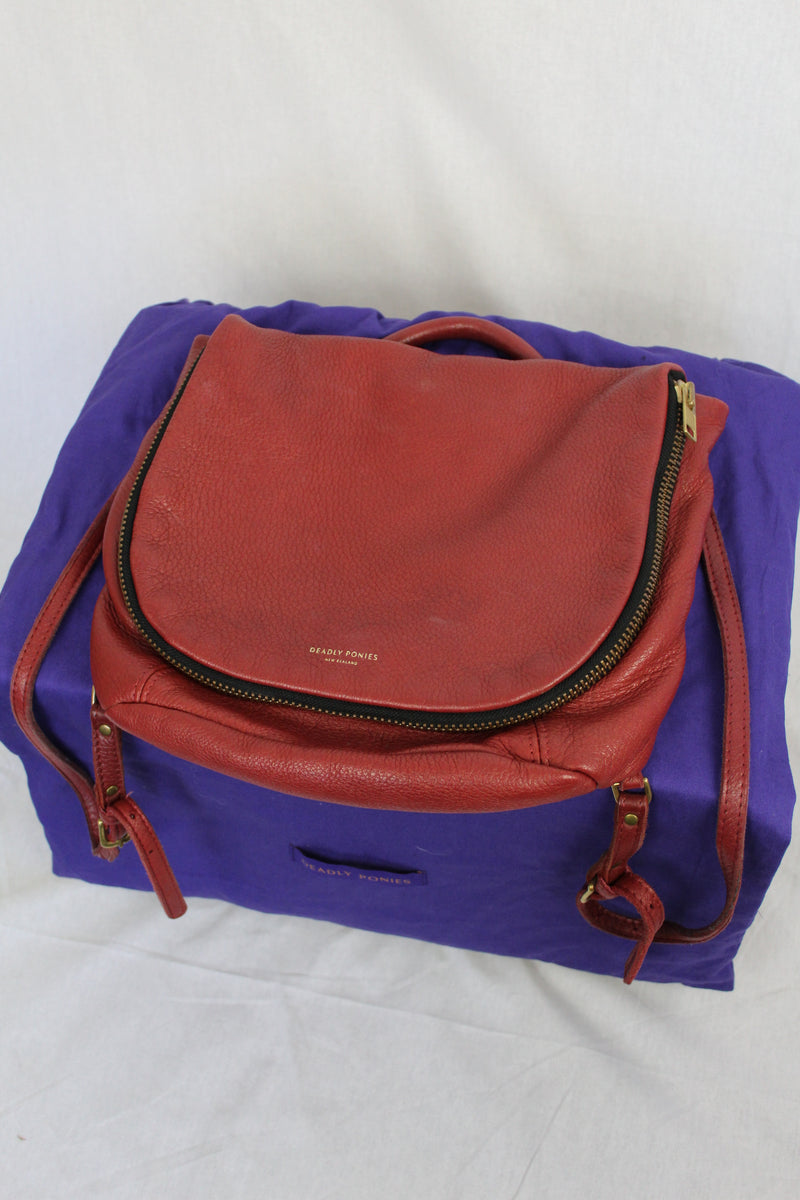 Deerskin leather backpack