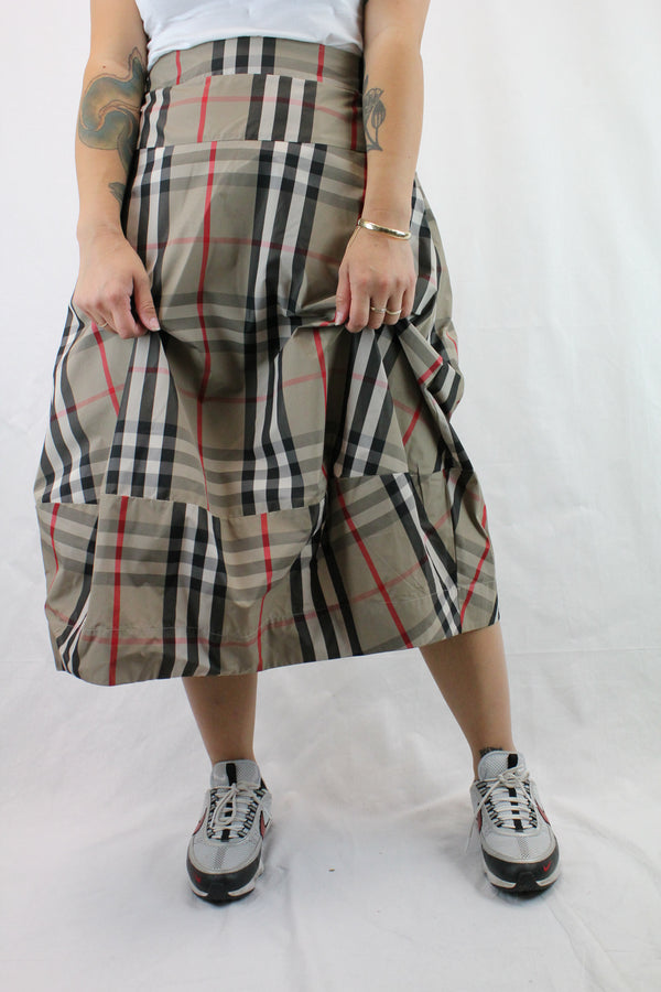 Plaid Structured Skirt