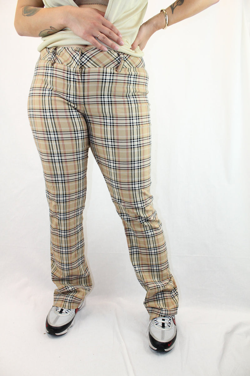 Vintage Plaid Straight Leg Pants