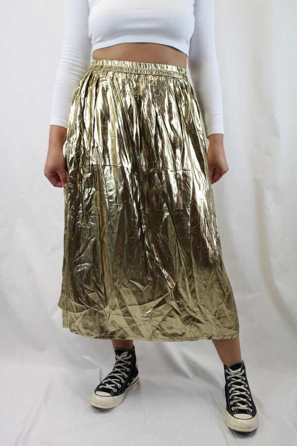 Gold Pleated Midi