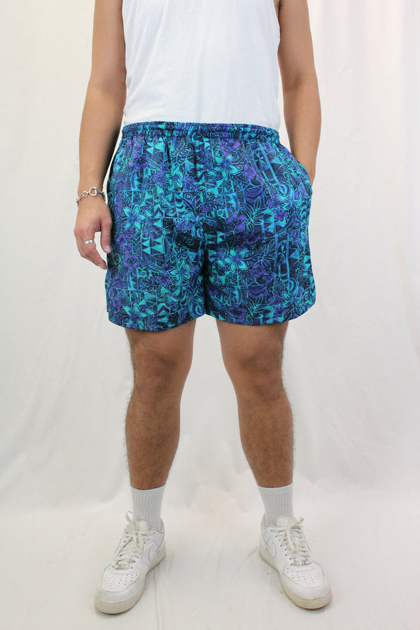 Geometric Floral Swim Shorts