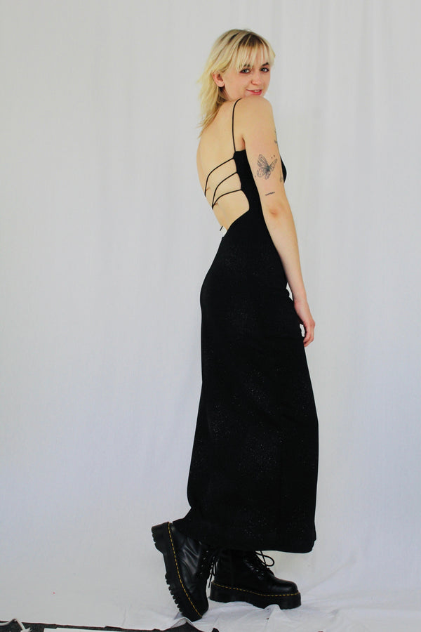 Y2k strappy back gown
