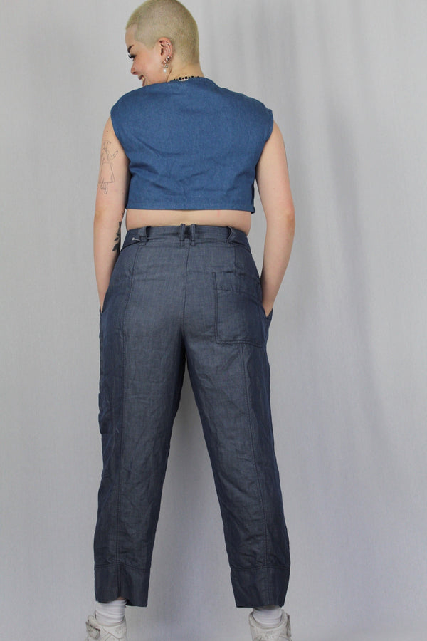 Linen-blend tailored pants