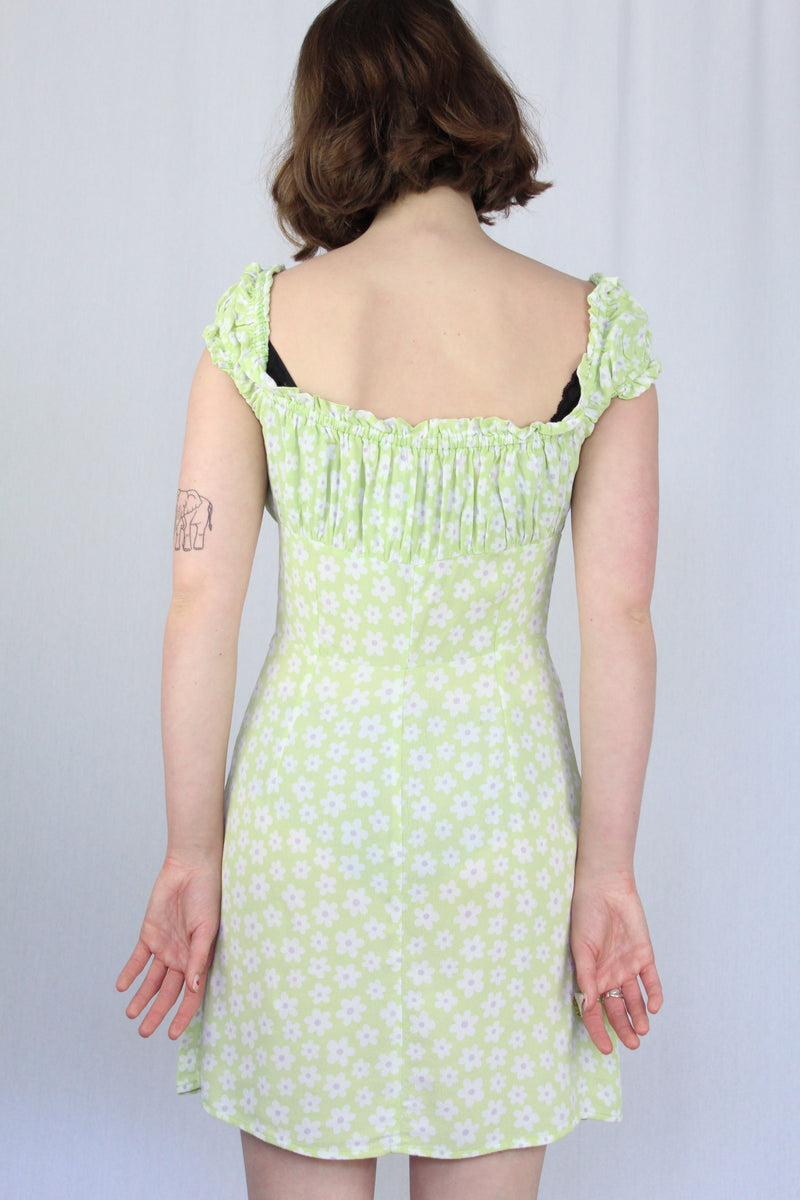 Puff-sleeve milkmaid dress