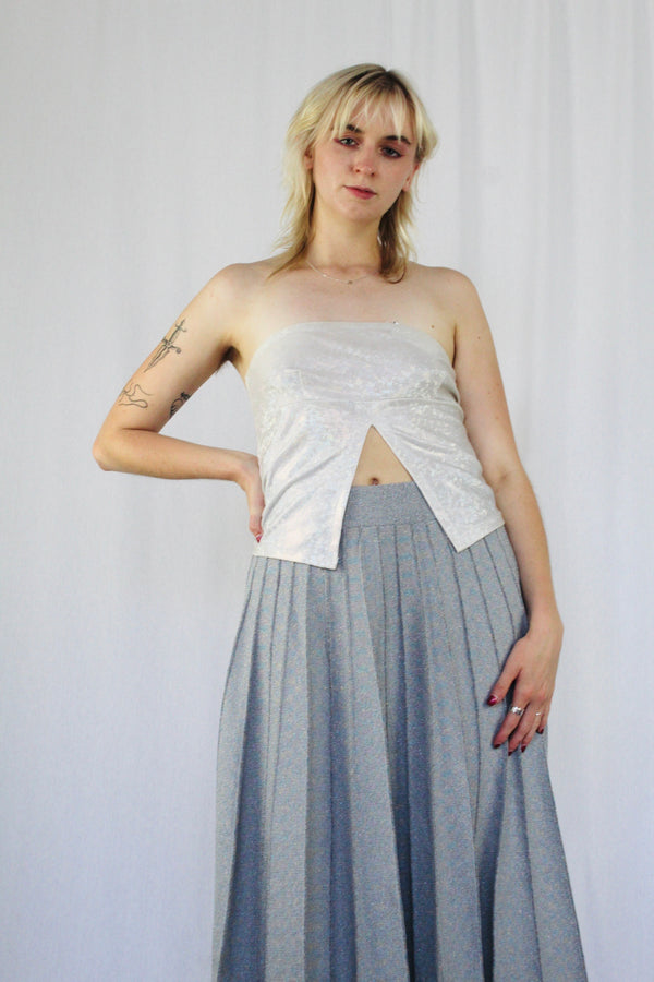 Iridescent split front tube top