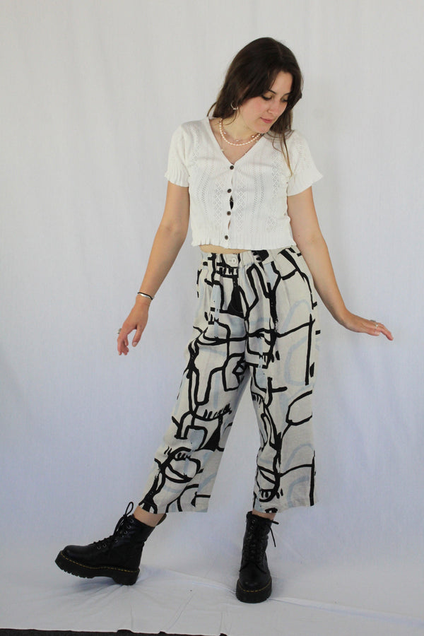 Abstract print linen culottes