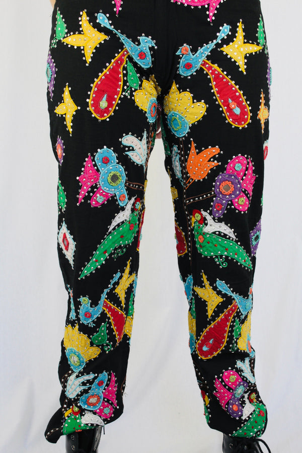 Paisley patchwork beaded pants