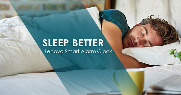 Man sleeping peacefully because of his Lenovo Smart Alarm
