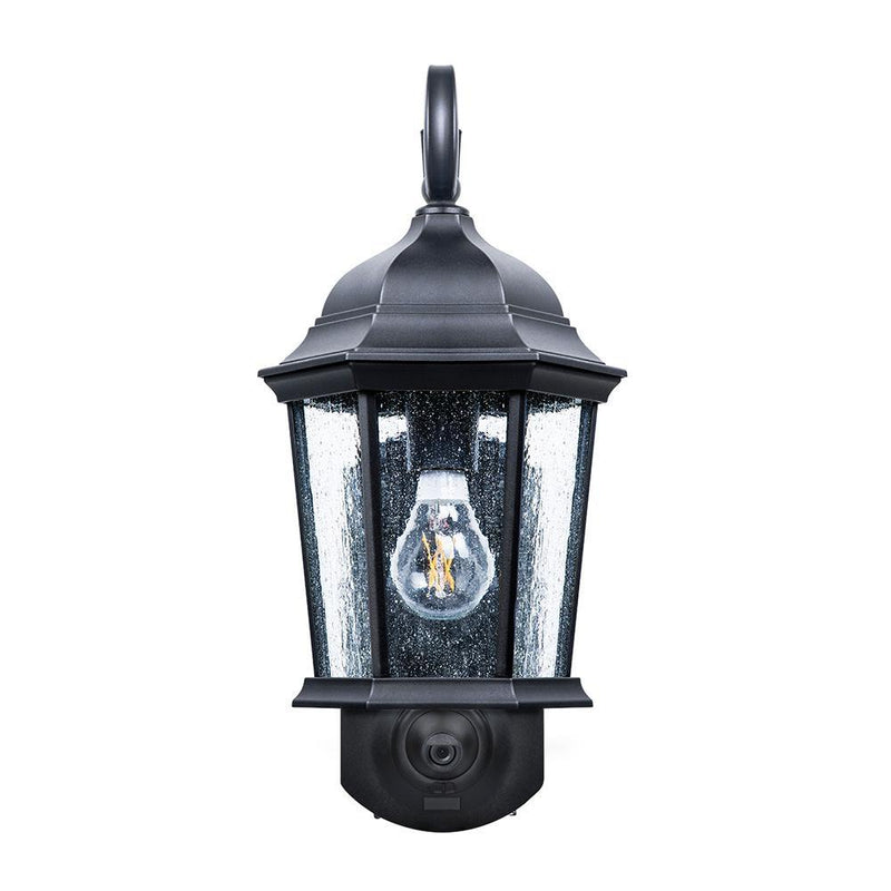 Maximus Coach Porch Light Camera with Siren Alarm, Smart Motion Detection - Black