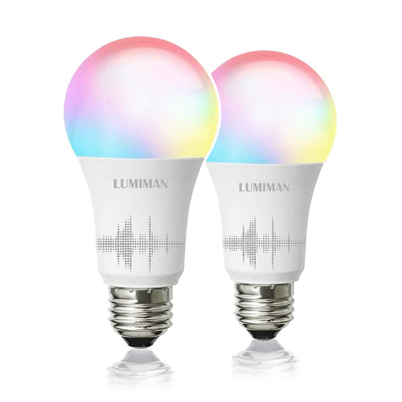 Lumiman WiFi Smart Dimmable LED Light Bulb, No Hub Required - A19 - Color Changing