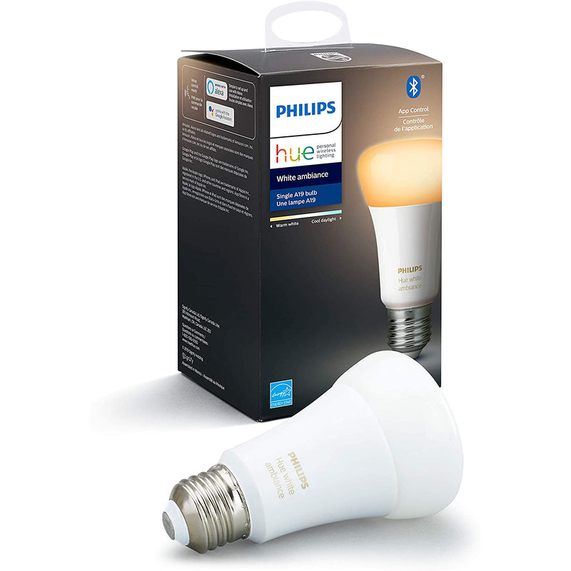 Philips Hue Zigbee & Bluetooth Smart LED Light Bulb, Hub Optional - A19 - White & Color Ambiance