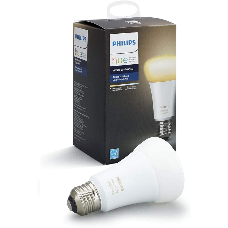 Philips Hue Zigbee Smart LED Light Bulb, Hub Required - A19 - White Ambiance - Each