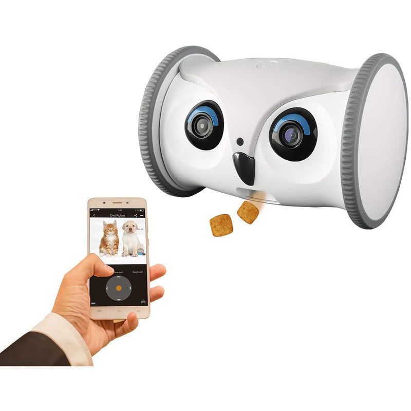 SKYMEE Owl Robot Mobile Full HD Pet Camera with Remote App Control Treat Dispenser for Dogs and Cats