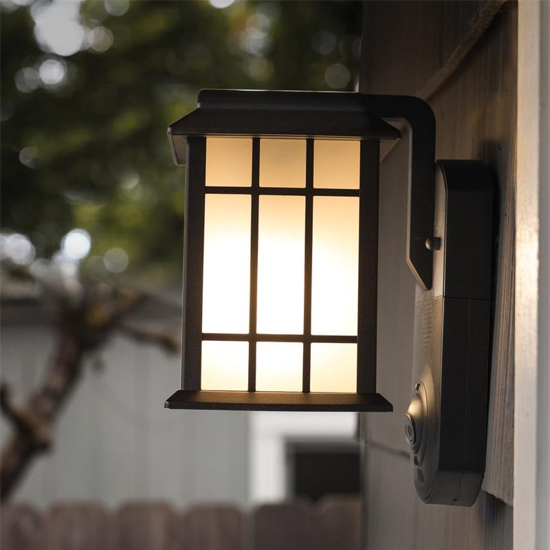 Maximus Craftsman Porch Light Camera with Siren Alarm, Smart Motion Detection