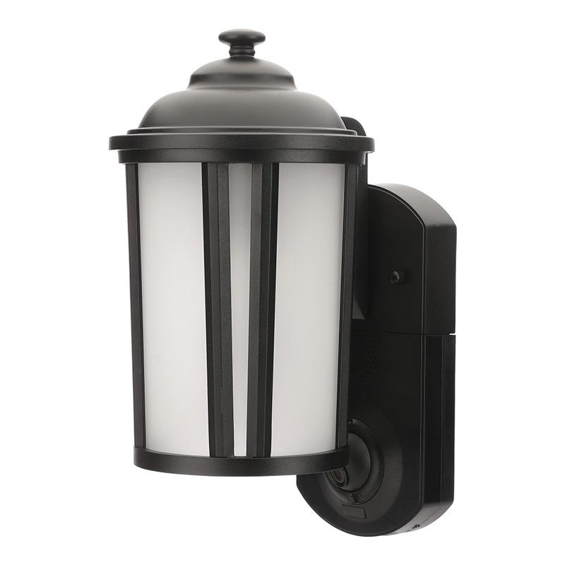 Maximus Traditional Porch Light Camera with Siren Alarm, Smart Motion Detection - Black