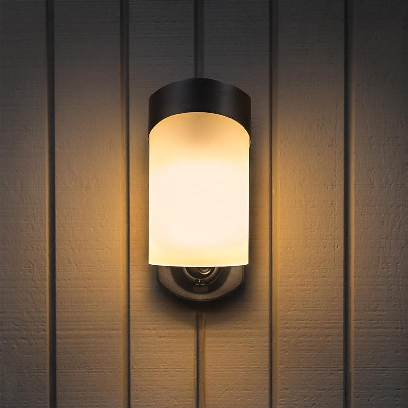 Maximus Contemporary Porch Light Camera with Siren Alarm, Smart Motion Detection - Black