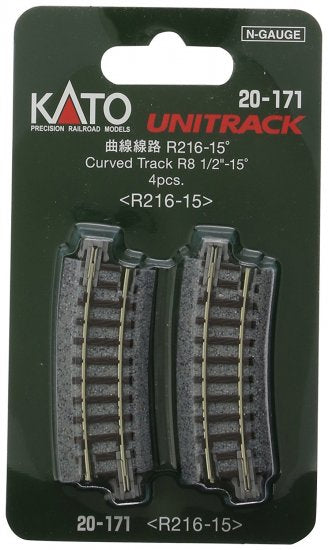 "N Kato Curved Track R8 1/2""-15 Degrees 20-171"
