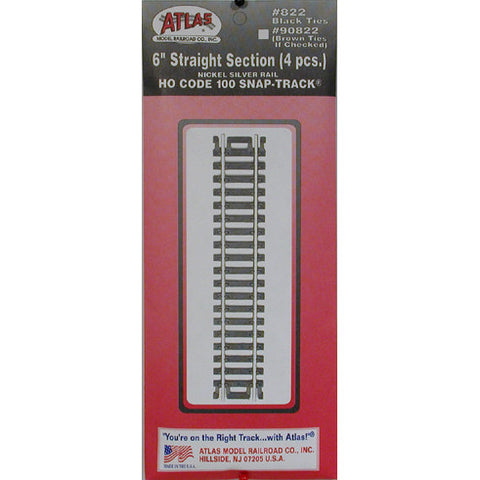 "Atlas HO Code 100 Snap-Track 6"" Straight Section #822"
