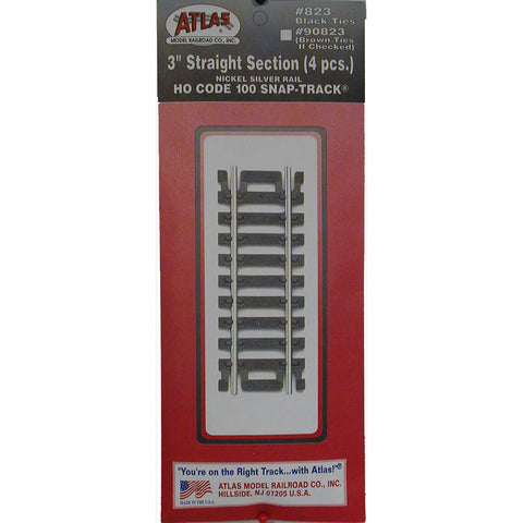 "Atlas HO Code 100 Snap-Track 3"" Straight #823"