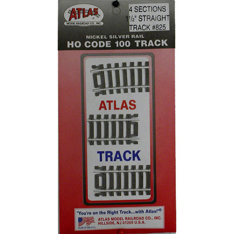"Atlas HO Code 100 Snap-Track 4 sections 1 1/2"" straight #825"