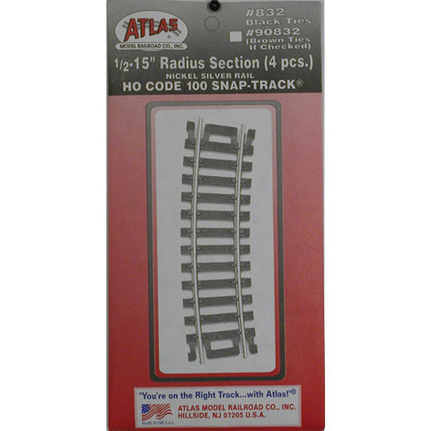 "Atlas HO Code 100 Snap-Track 1/2-15"" Radius Section #832"