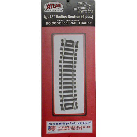 "Atlas HO Code 100 Snap-Track 1/2 - 18"" Radius Section #834"