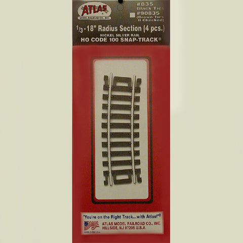 "Atlas HO Code 100 Snap-Track 1/3-18"" Radius Section #835"