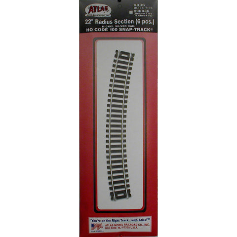 "Atlas HO Code 100 Snap-Track 22"" Radius Section #836"