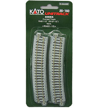"Kato N Scale R19"" 15 Degree Curved Track #20-160"