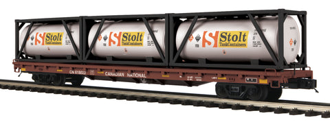 MTH O Canadian National 60' Flat w/3 Tank Containers