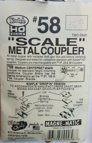 "HO Kadee #58 ""Scale"" Metal Couplers"
