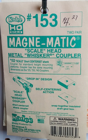 "HO Kadee #153 ""Scale"" Head Metal ""Whisker"" Coupler"