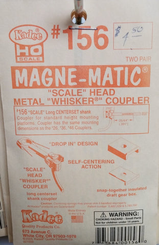 "HO Kadee #156 ""Scale"" Head Metal ""Whisker"" Coupler"
