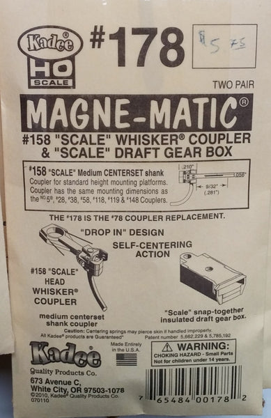 "HO Kadee #178 - #158 ""Scale"" Whisker Couplers & ""Scale"" Draft Gear Box"