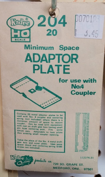 HO Kadee #204 Minimum Space Adaptor Plate