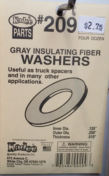 HO Kadee #209 Gray Insulating Fiber Washers