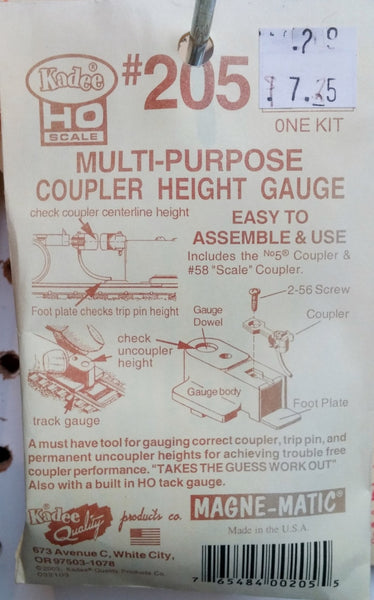 HO Kadee #205 Multi-purpose Coupler Height Gauge