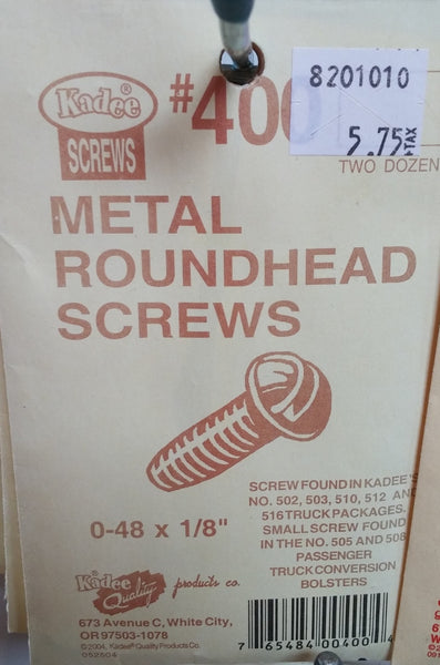 HO Kadee #400 Metal Roundhead Screws