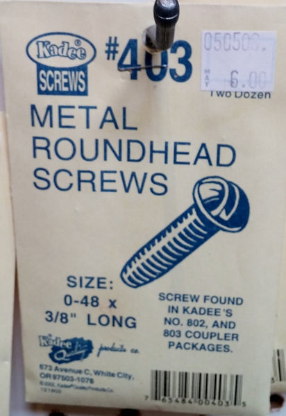 HO Kadee #403 Metal Roundhead Screws
