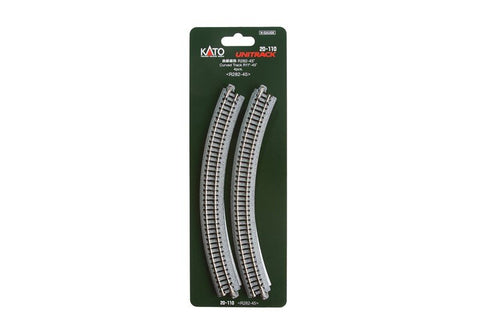 "Kato N Scale R11"" 45 Degree Curved Track #20-110"