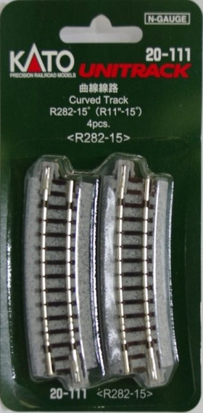 "Kato N Scale R11"" 15 Degree Curved Track #20-111"