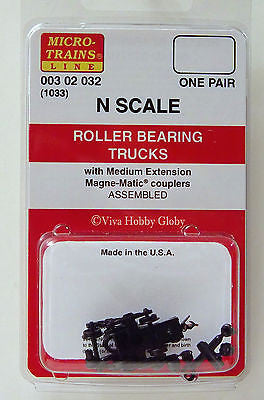 Micro-Trains N Scale Roller Bearing Trucks (with medium extension couplers) #1033