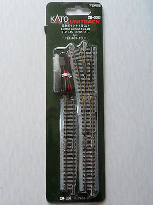 "Kato N Scale R19"" 15 Degree #4 Left Hand Electric Turnout 20-220"