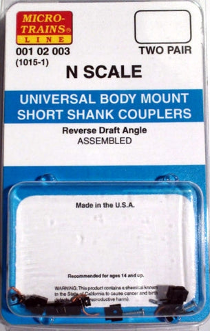 Micro-Trains N Scale Universal Body Mount Short Shank Couplers #1015-1