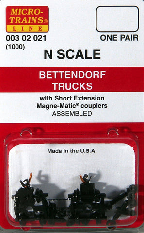 Micro-Trains N Scale Bettendorf Trucks (with short extension couplers) #1000