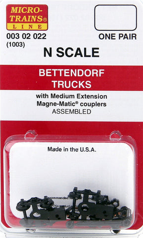 Micro-Trains N Scale Bettendorf Trucks (with medium extension couplers) #1003